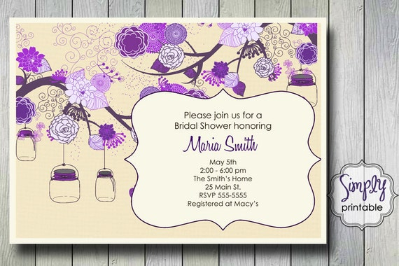 purple bridal shower invitation with vintage flowers  mason jars, Bridal shower invitations