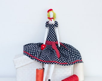 Fabric art doll, Nautical dress, Crochet red berret, Luxury Cloth Toy, Cotton polka dot dress, Size 26' /66 cm, Girl Gift Or Collectible