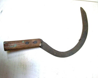 Vintage Sickle/Scythe with Wood Handle - Rustic Farmhouse Decor
