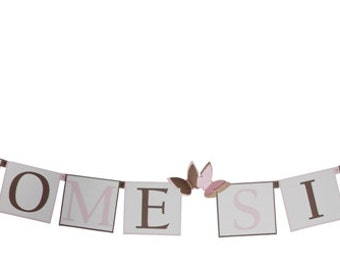 Pink & Brown Butterfly Baby Shower Decorations - Personalized Banner or Choice of Colors