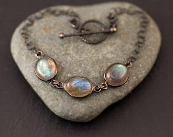 Labradorite Bracelet - Toggle Clasp - Black Oxidized Silver Bracelet - 3 Stone bracelet - Gunmetal