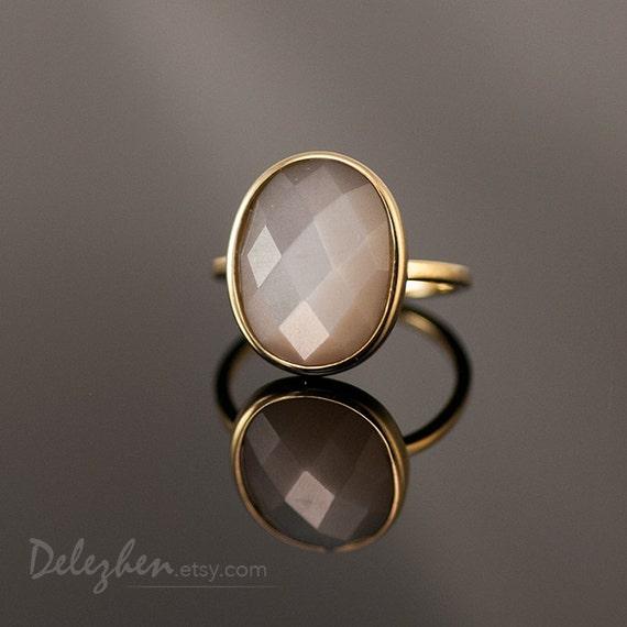 Grey Moonstone Ring Gemstone Ring Gold Ring Statement