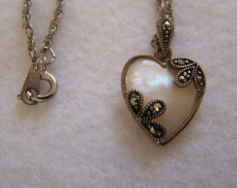 """Vintage 80's """"MARCASITE Mother-of Pearl HEART PENDANT"""" 2 Sided pendant"""