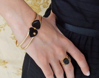 Adjustable Ring - Black and Gold ring - Heart Ring - Lace heart ring -  Heart Jewelry - bridesmaids gift - Romantic Gift - Valentine's Gift