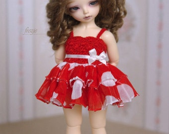 Polkadot red dress for TINY bjd LittleFee