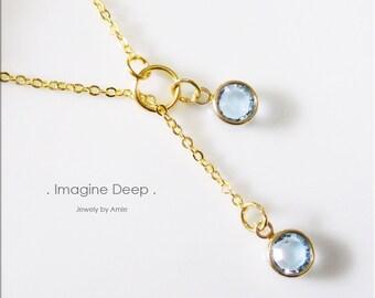 50% off SPECIAL - Sky Light Blue Lariat Necklace - Gold Plated Soft Baby Sky Blue Swarovski Crystal