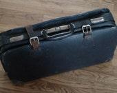 Black Split Leather Luggage, Satchel, 1930's, Inside Portfolio Space, Travel, Decor, Storage, Free Local Pickup Kansas City Area