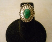 Malachite Sterling Ring - Beautiful Vintage Unique Malachite and Silver Ring