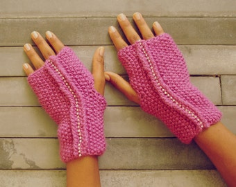 Fingerless gloves Pattern Knit Dore mittens - PDF beginners easy ebook - woman warm accessory wristers warmers - Instant Download