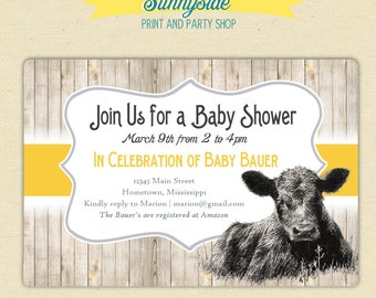On the Farm / Cute Calf  Baby Cow Invite  - Baby Shower / Birthday - Invitation