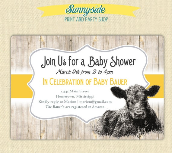 On the farm cute calf baby cow invite baby shower birthday il570xn filmwisefo