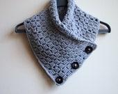 Crochet PATTERN button cowl, man neckwarmer, men scarf, woman cowl, woman scarf, DIY tutorial, Instant dowload