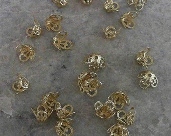 R E D U C E D --- Unplated Gold Bead Caps                    CC-80267