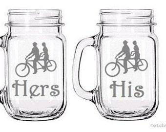 Mason Jar Handle mugs tandem bicycle, Matching His & Hers