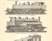 1904 Locomotives, Fast Train Engines Orginal Antique Engraving