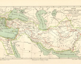 1896 Antique Map of  the Empire of Alexander the Great