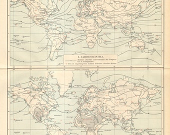 1896 Original Antique World Map of the Temperature Extremes