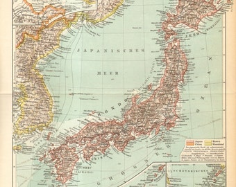 1895 Original Antique Map of Japan and Korea