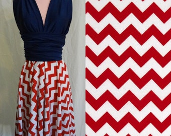 Red White and Blue Chevron Convertible Dress -