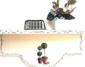 Wooden Wall Shelf  Shabby chic White Garden Botanical Design