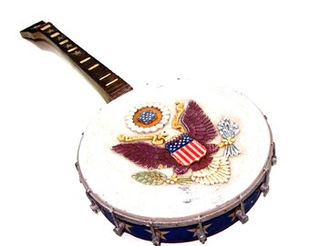 Antique Folk Art Banjo Red White Blue USA Flag Americana Rustic Decor Carved Wood Country Music Instrument Replica