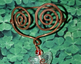 Copperwork Celtic Bracelet- Heart Butterfly with Red-White Art Glass