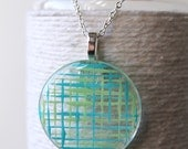 Mint Green and Blue Grid Plaid Round Glass Pendant