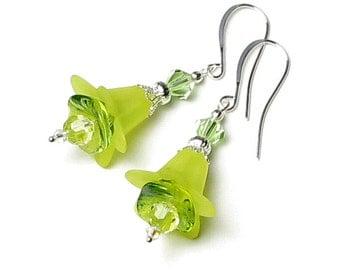 Lemon Lime Flower Swarovski Crystal Silver Dangle Earrings, Bright Summer Flower Beach Earrings, Colorful Jewelry For Teens, Gifts For Women
