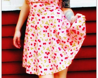Pink cherry rockabilly dress