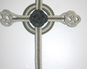 """Hand Knotted Cross 16 x 11""""  Color Choices Available Celtic Knots Recycled Rope"""