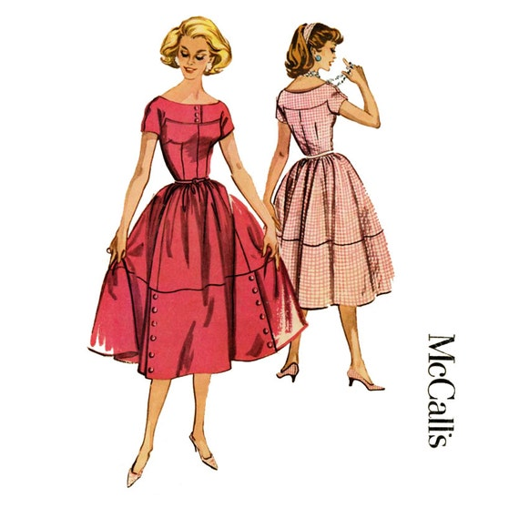 1950s Dress Pattern McCalls 4527 Misses Full Skirt Day or Evening Rockabilly Dress Womens Vintage Sewing Pattern Bust 34