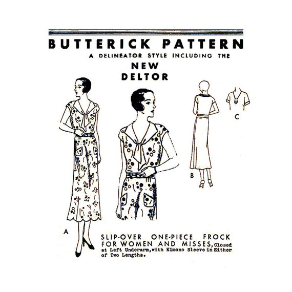 1920s Flapper Era Dress Pattern Butterick 3918 Delineator Bust 40 Womens Vintage Sewing Pattern Pullover Frock Scalloped Hem V Neck