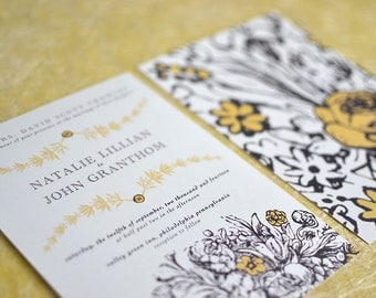 Wedding Invitation Package, Invitation & RSVP Envelopes, Vintage Yellow Floral Illustration, Garden Wedding, Outdoor Wedding, Spring Wedding