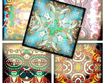 Digital Collage of Bright Asia - 63 1x1 Inch Square JPG images
