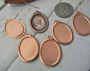 COPPER Framed Oval  24gauge - Pack of 6 - For Hand Stamped Jewelry Making - Metal Stamping Blank