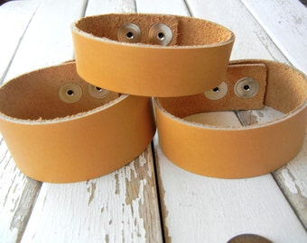 1 Inch Wide Genuine Smooth Leather Cuff Bracelet in GOLDEN SUNSET - Cuff Wristband - Cuff Blank - Hand Stamped Jewelry Supply