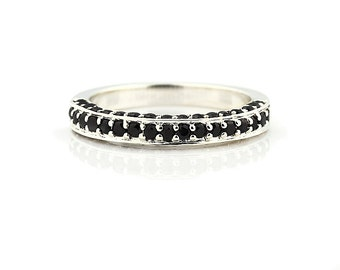 AAA Natural Black Diamond Wedding Band Ring 14k White Gold