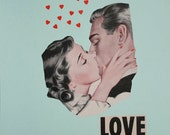 Love Collage, OoaK Paper Art, Valentine's Day Art, Mint and Black Art, Retro Wedding Art, Collage on Paper