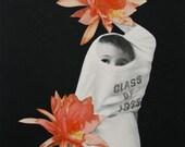 Original Paper Collage, Pom Poms, Black, White and Coral Floral Collage, Botanical Art, OOaK Unusual Vintage Paper Art