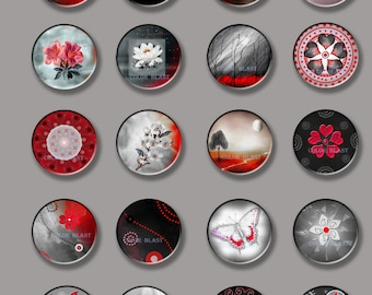 Black White And Red Circles- Floral and Landscape Images- INSTANT DOWNLOAD-  Collage Sheet - 1.5 Inch Circles for Glass Pendants, Magnets