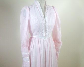 1970s Gunne Sax Pink Maxi Dress Wedding Dress Womens Extra Small Boho Prairie Formal