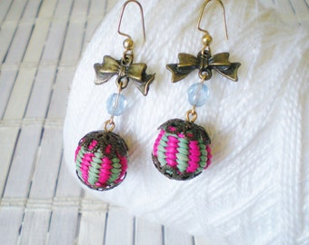 Pink Green Stripes Bead Dangle Earrings / Bow Charms / Pale Blue Crystals / Retro Cute
