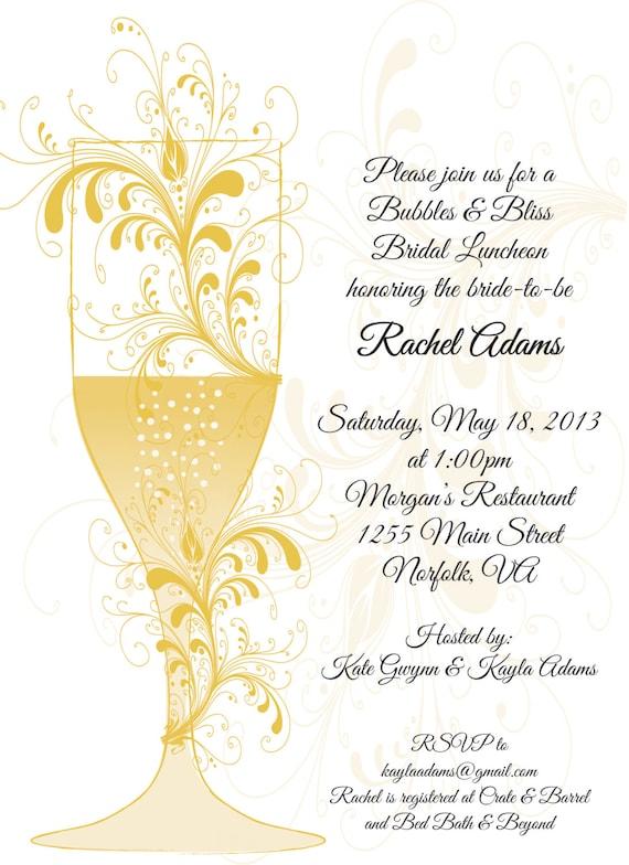 bubbles  u0026 bliss bridal shower invitation bridal luncheon