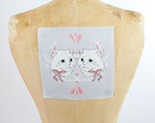 "printed canvas patch - Cat Twins - 7"" x 7"""