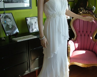 Handmade wedding dress chiffon layers garden destination beach wedding gown SALE PRICE