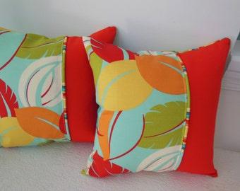 Leaf Pillow - Beach Decorative Pillow - Blood Orange, Aqua, Avocado, Turquoise, Yellow and Pumpkin Pillow - Reversible 15 x 15 Inch Pillow