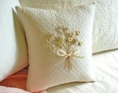 Decorative Pillow -Cream and White Posy Pillow w/ Floral Buttons/ Pearl Buttons (Victorian/ Vintage Style/ Shabby Chic- Floral Bouquet)