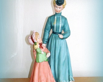 "Victorian Figurine Woman & Girl Together Vintage Homco's Victorian Series ""Sunday Stroll"" Little Girl with Doll Larger Size Bisque Porcelain"