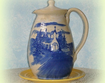 Large Pitcher With Lid Hand Painted Stoneware Country Church Scene from Shelton's Pottery Seagrove, NC Vintage Serving Utensil Collectible
