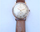 Vintage 40s Omega Mens Watch Automatic Round Dial Bumper Movement Rose Pink Gold Plated Dress Time Piece